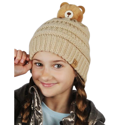 Kids Teddy Bear Pom Beanie