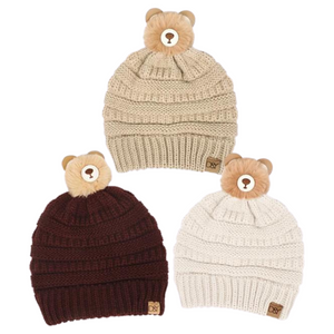 Kids Teddy Bear Pom Beanie, AJRBB285