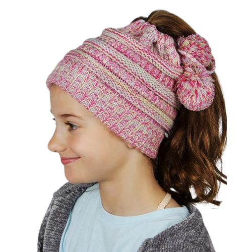 Halo Ribbed Knit Ponytail Beanie
