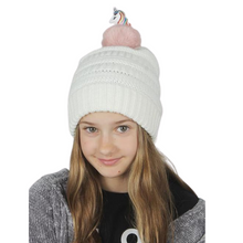 Load image into Gallery viewer, Kids Unicorn Pom Beanie, AJRBB291