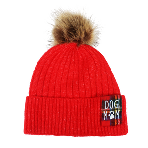Dog Mom Rib Knit Beanie with Faux Fur Pom