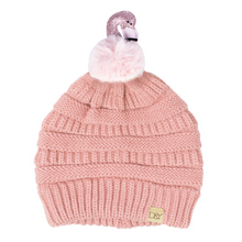 Load image into Gallery viewer, Kids Flamingo Pom Beanie