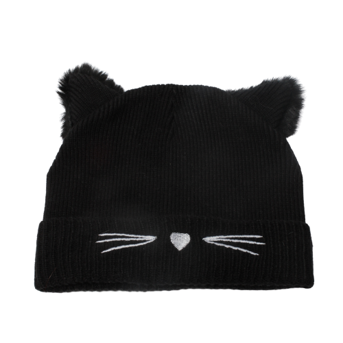 Knit Cat Beanie With Ears - Kids, ABB25238