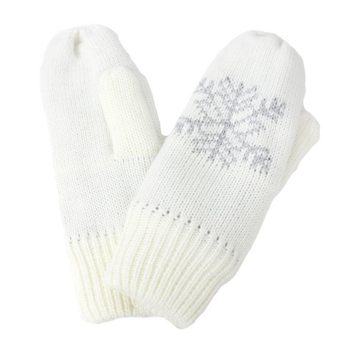 Snowflake Knit Mittens With Cozy Lining, FSMT75268