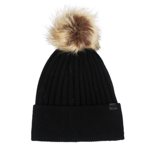 Knit Beanie with Faux Fur Pom