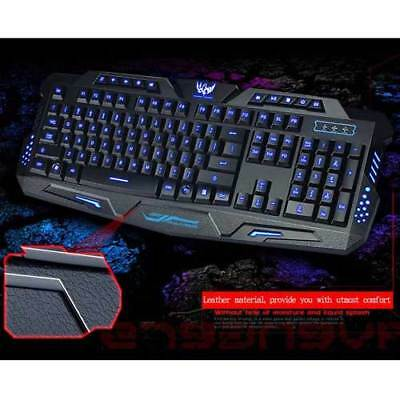 LED Backlit Gaming Keyboard WITH 3 Colorways Alternating Light USB Wired Game