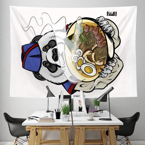 "Jen's Panda Chubbs on a Tapestry 59"" x 79"" - Ikonic Apparel"