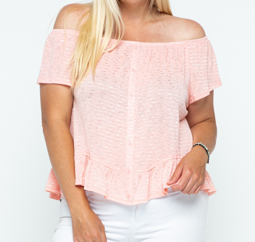 Summa Time Fine Off the Shoulder Curvy Top