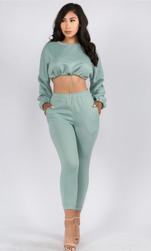 Sage cropped sweat suit