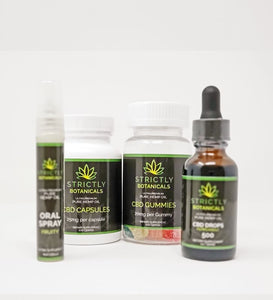 Strictly Botanicals DELUXE KIT (500 MG Tincture, Oral Sleep Spritz, 20MG Gummies 30 CT, 25MG Capsules 30CT)