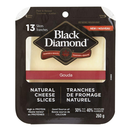 BLACK DIAMOND Natural Cheese Slices, Gouda 260 g Black Diamond Couryah
