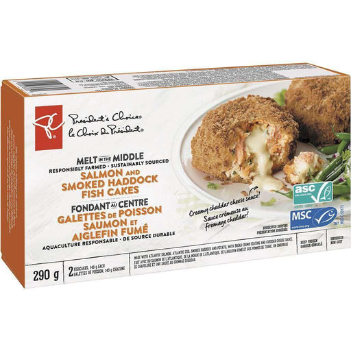 PRESIDENT'S CHOICE Melt In The Middle Responsibly Farmed Sustainably Sourced Salmon And Smoked Haddock Fish Cakes 290 g President's Choice Couryah