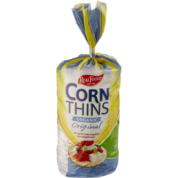 REAL FOODS - CORN THINS CRISPBREAD SLICES ORIGINAL ORGANIC 150 g Real Foods Couryah