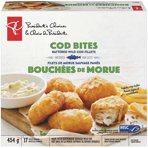 PRESIDENT'S CHOICE Breaded Cod Bites With Sauce 454 g President's Choice Couryah