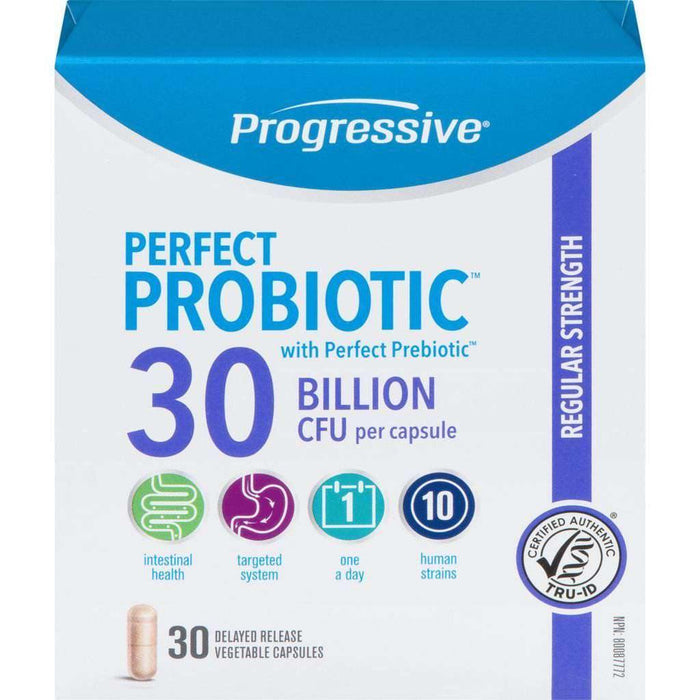 PROGRESSIVE - PROBIOTIC 30 BILLION CFU PER CAPSULE REGULAR STRENGTH 30 DELAYED RELEASE VEGETABLE CAPSULES (30 ea) Progressive Couryah