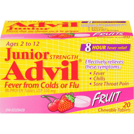 Advil Junior Fruit Fever from Colds or Flu Ibuprofen 20 Chewable Capsules 100 mg Advil Couryah
