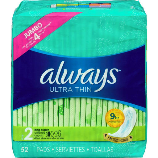Always Ultra Thin Size 2 Long Super 52 Pads Always Couryah