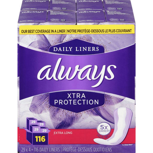 Always Xtra Protection Extra Long 116 Liners Always Couryah