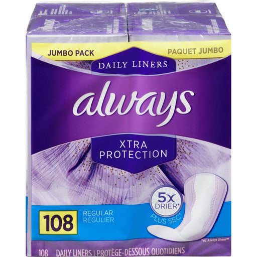 Always Xtra Protection Regular 108 Liners Always Couryah