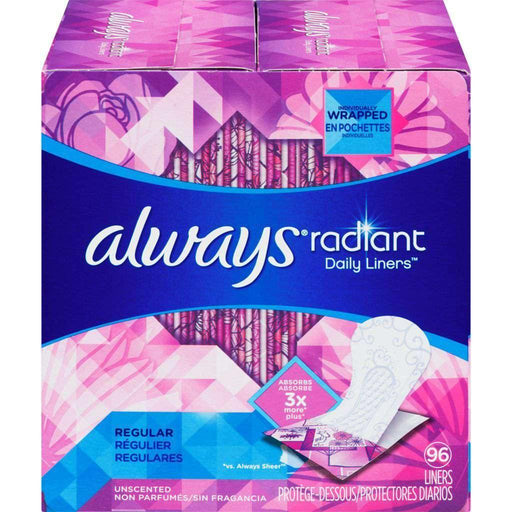 Always Radiant Unscented - Regular 96 Liners Always Couryah