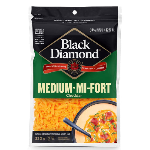 Black Diamond Medium Cheddar Shredded Cheese 320 g Black Diamond Couryah
