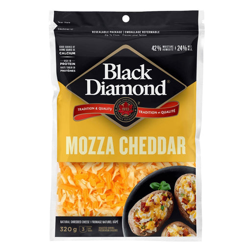 Black Diamond Mozza Cheddar Shredded Cheese 340 g Black Diamond Couryah