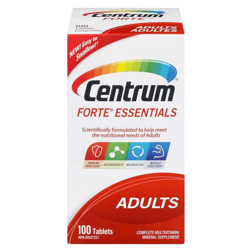 Centrum Forte Essentials Adults 100 Tablets Centrum Couryah