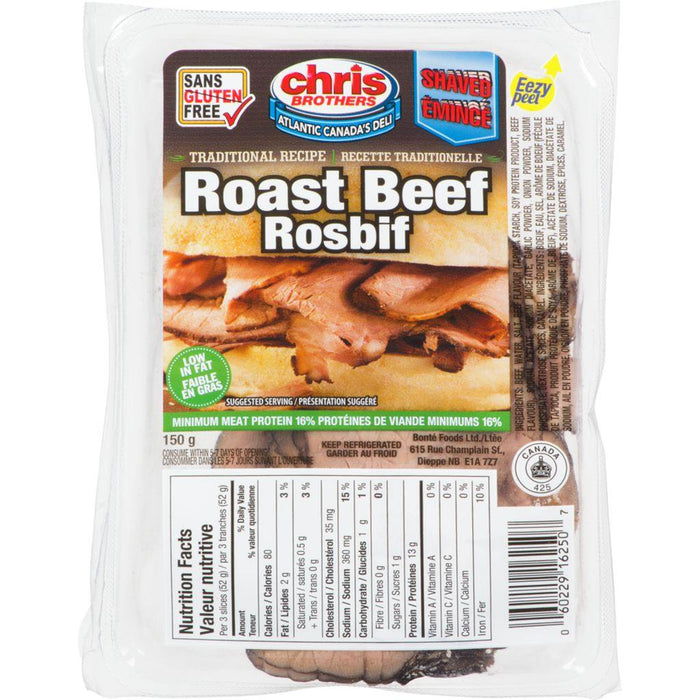 Chris Brothers Shaved Traditional Recipe Roast Beef 150 g Chris Brothers Couryah