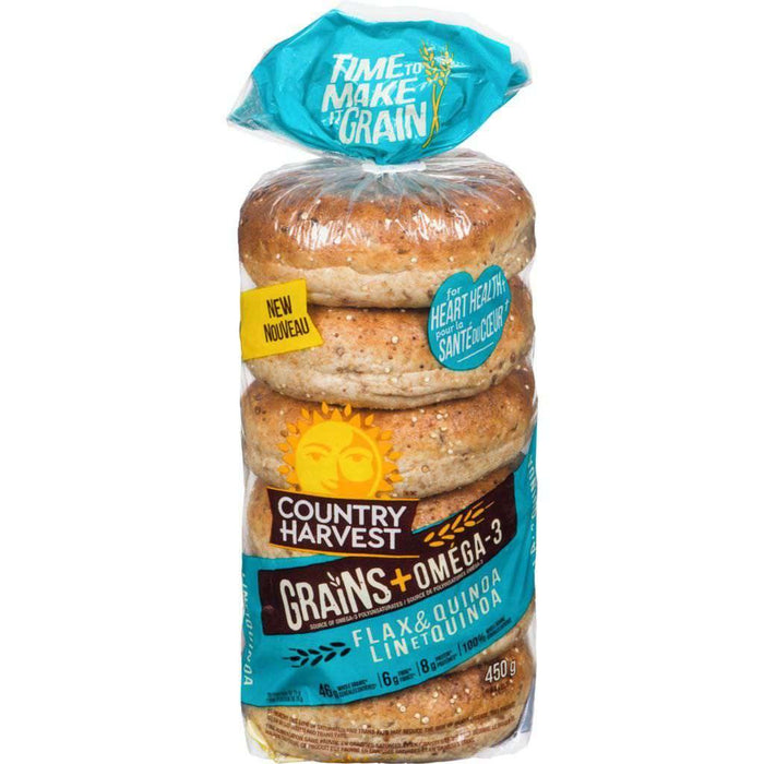 Country Harvest Flax & Quinoa Bagels 450 g - COURYAH