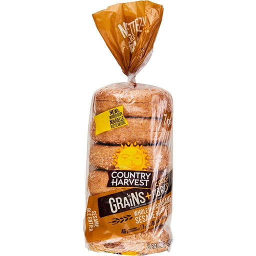 Country Harvest Whole Wheat Sesame Bagels 450 g - COURYAH