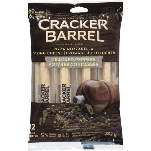 Cracker Barrel Pizza Mozzarella String Cheese, Cracked Peppers 252 g Cracker Barrel Couryah