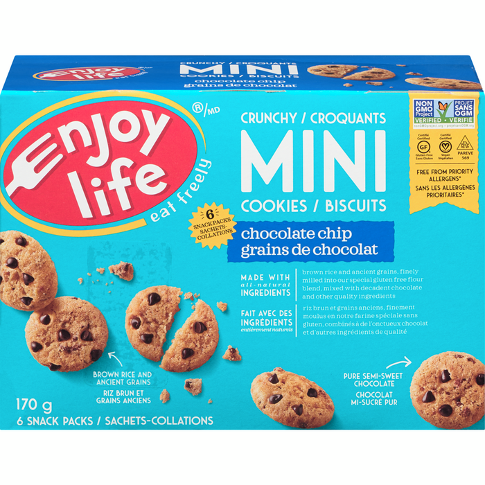 Enjoy Life Crunchy Mini Cookies, Chocolate Chip (6 Snack Packs) 170g