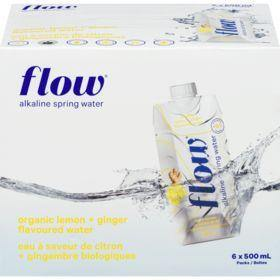Flow Alkaline Spring Water Bottles Case, Organic Lemon Ginger (6 x 500mL) Flow Couryah