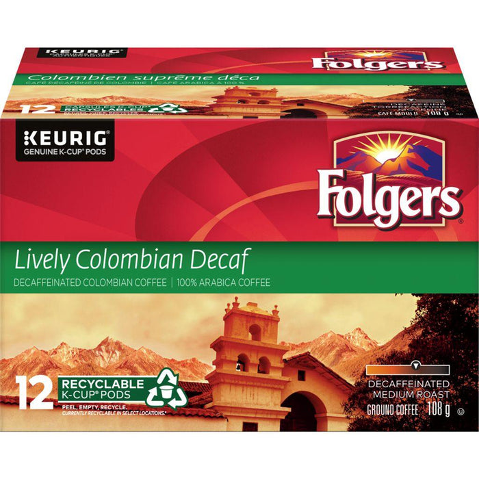 Folgers Lively Colombian Decaf K-Cup Coffee Pods 12 Each Folgers Couryah