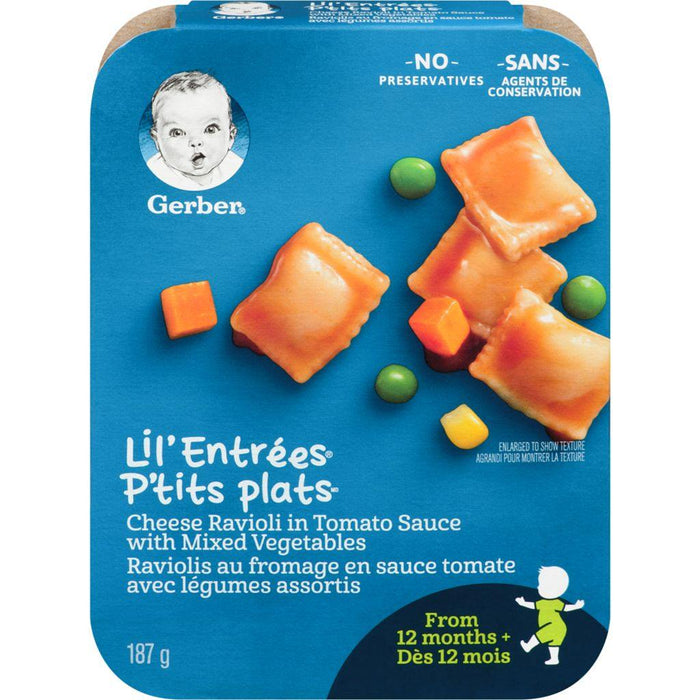 Gerber Lil' Entrées Cheese Ravioli in Tomato Sauce with Mixed Vegetables 187g Gerber Couryah