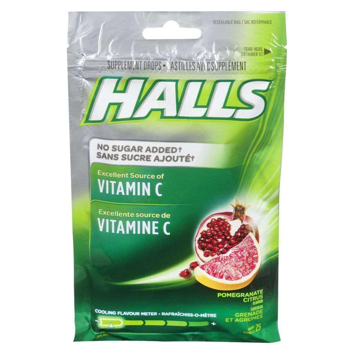 Halls Vitamin C Pomegranate Citrus Bag 25 Each Halls Couryah