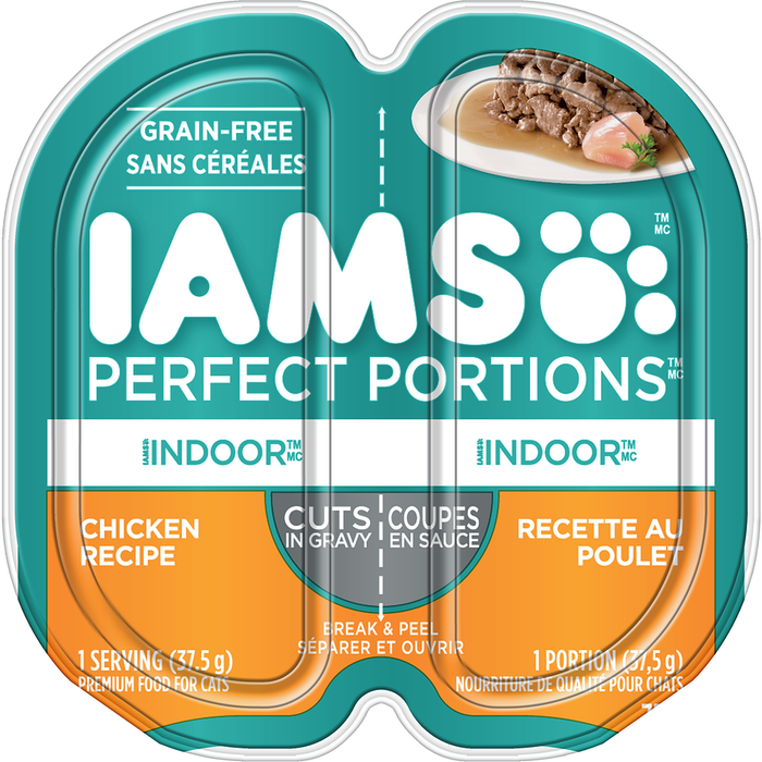Iams Perfect Portions Cuts In Gravy Grain-Free Cat Food, Indoor with Chicken Recipe (2 x 37.5 g)