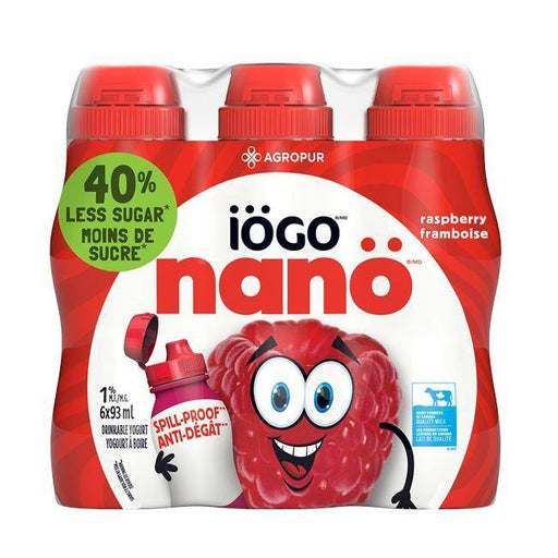 Iogo Nano Raspberry Drinkable Yogurt 1% (6 x 93 mL) Iogo Couryah
