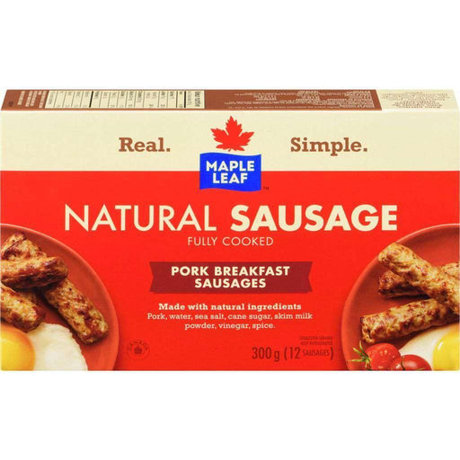 Maple Leaf Fully Cooked Natural Sausage, 12 Pork Breakfast Sausages 300 g Maple Leaf Couryah