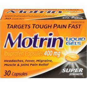 Motrin Liquid Gels Ibuprofen Super Strength 400 mg (30 Capsules) - COURYAH