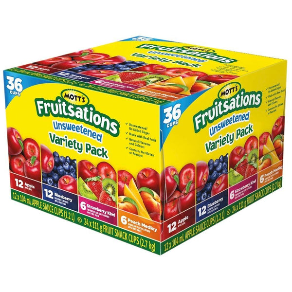 Mott's Fruitsations Unsweetened Fruit Snack, Variety Pack (36 x 111g)