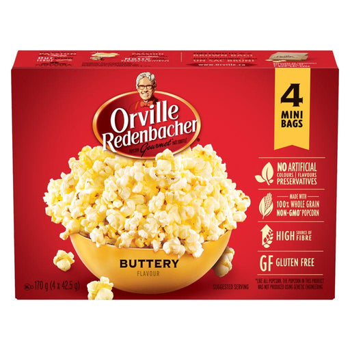 Orville Popcorn Buttery Flavour, Mini Bags (4 x 42.5 g) Orville Couryah