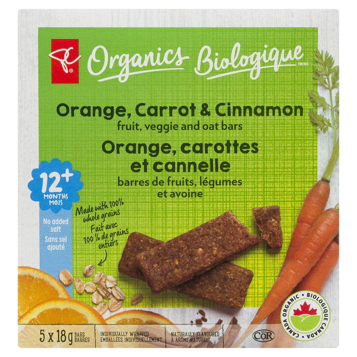 PC Organics Fruit Veggie Oat Bars Orange Carrot Cinnamon 5x18g PC Organics Couryah