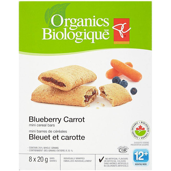 PC Organics Mini Cereal Bars Blueberry Carrot 8x20g PC Organics Couryah