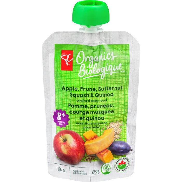 PC Organics Pouch Apple Prune Butternut Squash & Quinoa Purée 128mL PC Organics Couryah