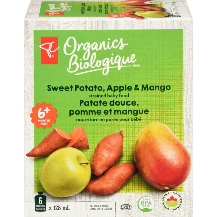 PC Organics Pouch Sweet Potato Apple & Mango Purée 6x128mL PC Organics Couryah
