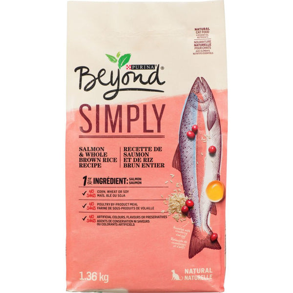 Purina Beyond Simply Natural Cat Food, Salmon & Whole Brown Rice Recipe 1.36 kg