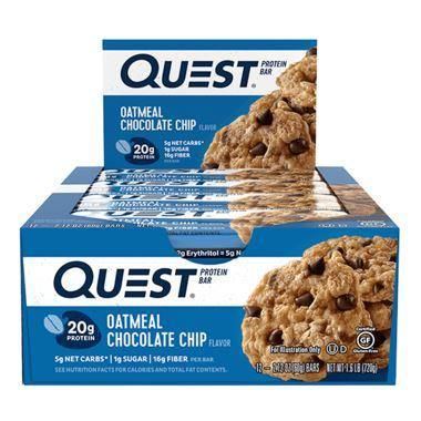 Quest Protein Bar, Oatmeal Chocolate Chip Case (20 g Protein) (12 x 60 g) Quest Couryah