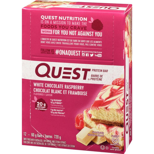Quest Protein Bar, White Chocolate Raspberry Case (20 g Protein) (12 x 60 g) Quest Couryah
