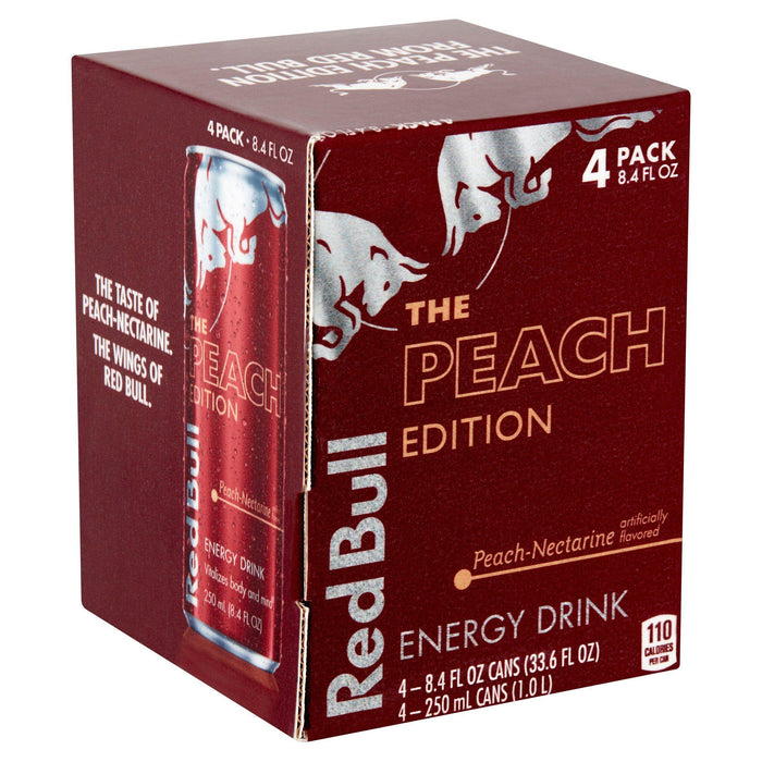 Red Bull The Peach Edition Peach Nectarine Energy Drink, 4 x 250 mL Red Bull Couryah